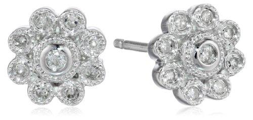 Sterling Silver Diamond Floral Stud Earrings (1/8 cttw, I-J Color, I2-I3 (Diamond Floral Stud)