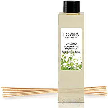 LOVSPA Unwind Peppermint & Eucalyptus Reed Diffuser Oil Refill with Replacement Reed Sticks | Fresh Peppermint, Aromatic Eucalyptus & Creamy Vanilla | Invigorating & Stress Relieving Home Fragrance