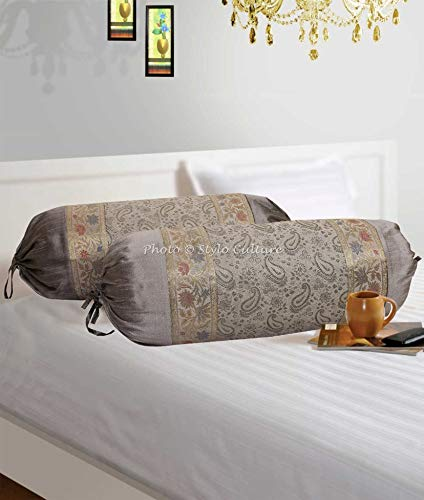 Stylo Culture Indian Polydupion Cylindrical Hotdog Pillow Bolster Pillow Covers Grey Paisley Jacquard Brocade Border Large Settee Cylinder Cushion Covers (Set of 2) | 30x15 Inches (76x38 cm) (Paisley Settee)