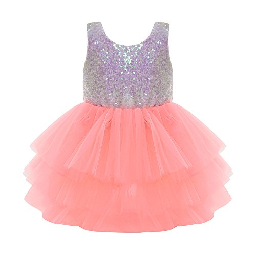 Aalizzwell Baby Girls Sequins Backless Princess Party Layered Tutu Bowknot Skirt Dress (Orange, - Skirt Baby Beautiful Lace