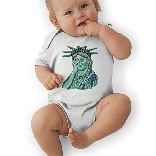 Infant Baby Boy's Bodysuit Short-Sleeve Onesie Funny Statue of Liberty Print Jumpsuit Spring Pajamas]()