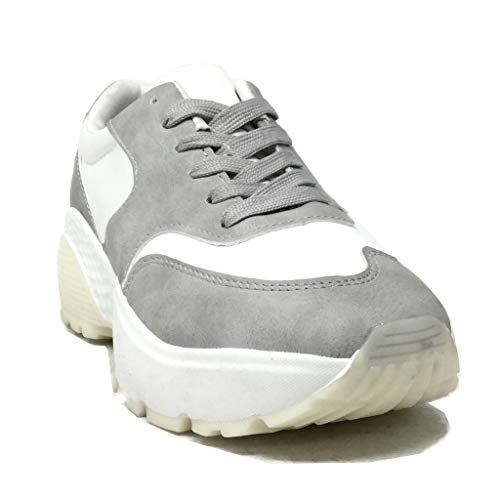Sneaker Scarpe Tacco Zeppe Moderno 5 Angkorly 4 Donna Vintage Moda Zeppa Grigio retrò Street Piattaforma Cm gEqzAwd
