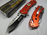 Rescue Survival Knife - Tac Force Assisted Opening Rescue EMS EMT Tactical Pocket Folding Stainless Steel Blade Knife Outdoor Survival Camping Hunting - Orange