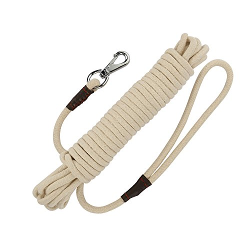15ft Puppy Cable Tie Out (PepPet 32 Ft Extra Heavy Duty Cotton Rope Dog Training Leash for Large/ Medium/ Small Dogs Training/ Walking)