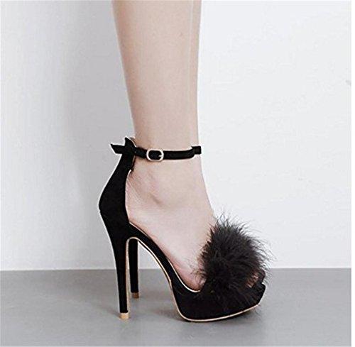 Tamaño eu44 Clover Toe Zapatos Cruzada Hebilla Mujer Gran Sandalias Peep Tacón Femenil Plataforma Alto De a Lucky ZHpSx4x