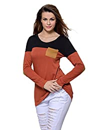Fantasy Star Women Fashion Red White Stripes Color Block Long Sleeve Blouse Top