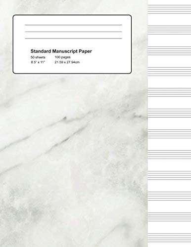 Standard Manuscript Paper: White Marble Blank Sheet Music (Notebook for Musicians)