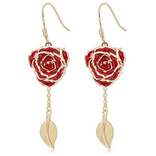 ZJchao 24K Gold Flower Dangle Earrings with Leaf Long Drop Earrings Rose Jewelry for Women Gift (red) ()
