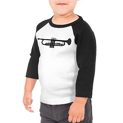HIGASQ Unisex Baby Trumpet Toddler's O Neck Raglan 3/4 Sleeve Baseball T Shirt for 2-6 Boys Girls Black -