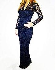 فستان للنساء قبة V وقصة  قصة ضيقة مخرم ماكسي باكمام طويلة لحفلات الوفاف، مقاس Xl، ازرق داكن- Gg0123