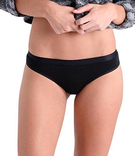 Comfortable Club Women's Microfiber Modal Thong Panties Underwear (Medium, Jet Black)