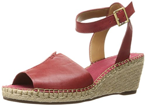 Red Leather Wedge (Clarks Women's Petrina Selma Espadrille Wedge Sandal, Red Leather, 9 M US)