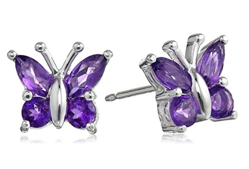 Sterling Silver Butterfly Stud Earrings Amethyst Purple Ear Studs Anniversary Birthday Mother's Gift ()