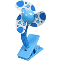 uxcell Clamp Clip Style Rotatable Mini Fan 2.2 Inch Width Blue