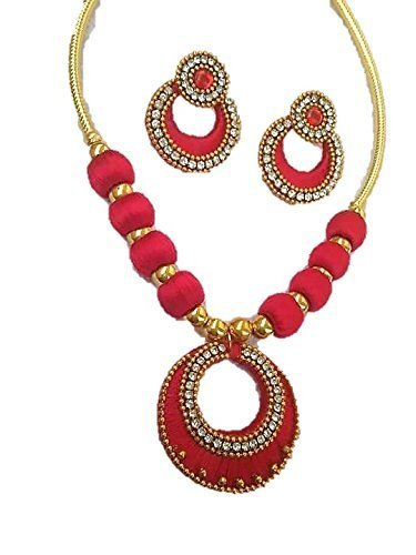 at necklace flower thread vibrant pendant pink azilaa full modern