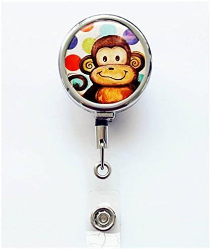 ID Reel Gifts Monkeyin/' Around Retractable Badge Reel Monkey Name Tag Holder Pediatric Badge Clip Cute ID Holder Fun Badge Pull