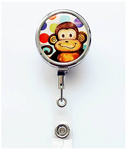 Monkey Name Cards - RhyNSky Animal Monkey Retractable Badge Holder Reel Clip with Alligator Clip for Name Tag ID Card Keys, Silvery, C1448