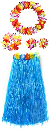 Adults Hawaiian Hula Grass Skirts Dance Wears Set(Blue Full Lei, 5pcs/ Set)