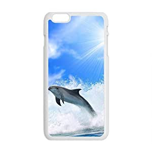 Attractive Sea Dolphins White Phone Case for Iphone6 Plus