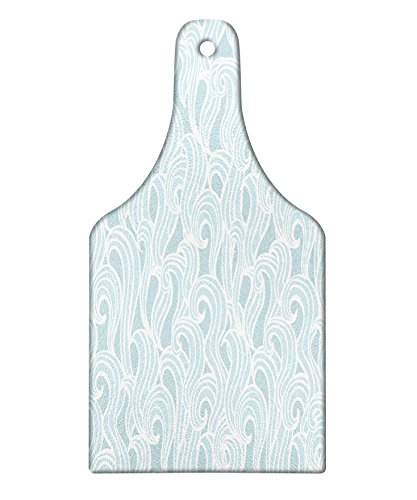 Ambesonne Aqua Cutting Board, Abstract Ikat Frame Antique Victorian Style Floral Leaves Details Art Print, Decorative Tempered Glass Cutting and Serving Board, Wine Bottle Shape, Seafoam and White by Ambesonne
