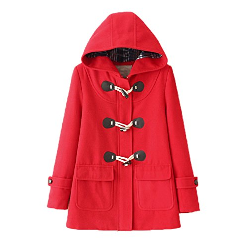 WSLCN Classic Duffle Coat Woolen Fleece Women Trench Coat Hooded Winter Casual Outerwear Hoodie Horn Buttons Peacoat Pockets Thick Coat Snowsuit Red with Coton Lining US 14 (Asian XL)