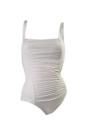 432db80763 Calvin Klein Womens Ruched Adjustable Straps One-Piece Swimsuit Ivory 6