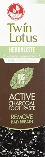 : Twin Lotus Active Charcoal Toothpaste Herbaliste Triple Action 100 G X 1 Tube