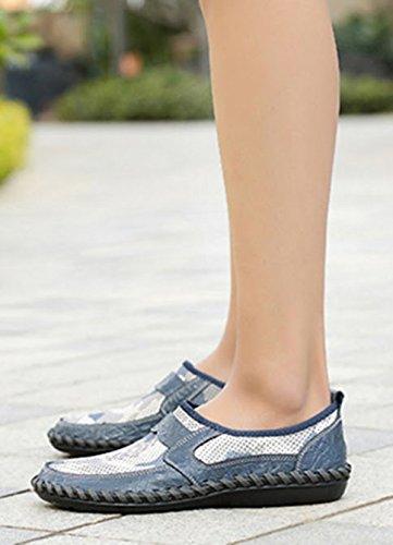 uomo mesh scarpe morbido vera Blu moda in confortevole slip estate marchio estive uomo 01 scarpe pelle da on scarpe casual Bebete5858 traspirante YqWzp5BwBX