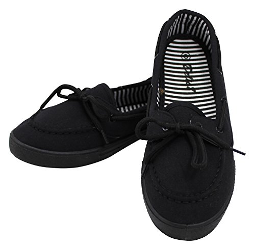 Enimay Women's Original Style Slip-On Casual Canvas Boat Shoe Loafer Flats Black | Black 8.5
