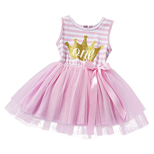 Baby Girls Princess Striped 1st/2nd Birthday Cake Smash Shiny Printed Party Sleeveless Tulle Tutu Dress Toddler Kids Outfit Pink (1 Year) One (Cake Dresses)