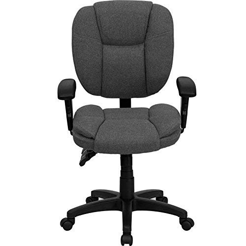 Mid Back Multifunction Fabric - Flash Furniture Mid-Back Gray Fabric Multifunction Ergonomic Swivel Task Chair with Adjustable Arms