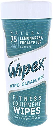 Wipex Natural Wipes for Fitness in Lemongrass Eucalyptus, Gyms, Yoga, Peloton Cycles, Treadmills and Home, 75 Wipes per Canister 4 canisters