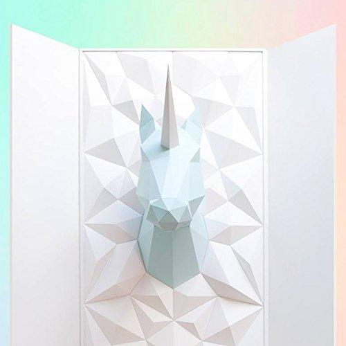 Assembli Kit pour fabriquer Troph/ée Origami Licorne ou Cheval en Papier Vert Mint