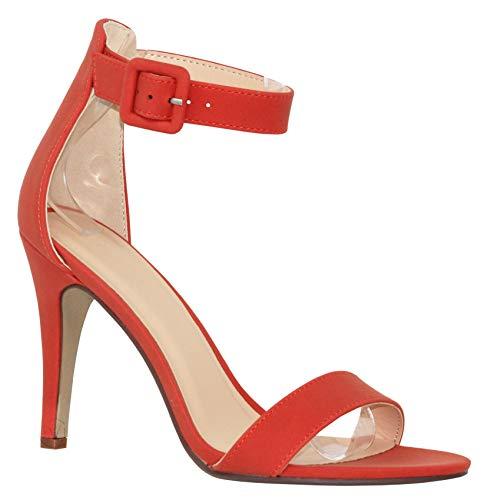 MVE Shoes Women's Single Ankle Strap-Classy Kitten Heeled Sandal, Juicy Orange nb ()