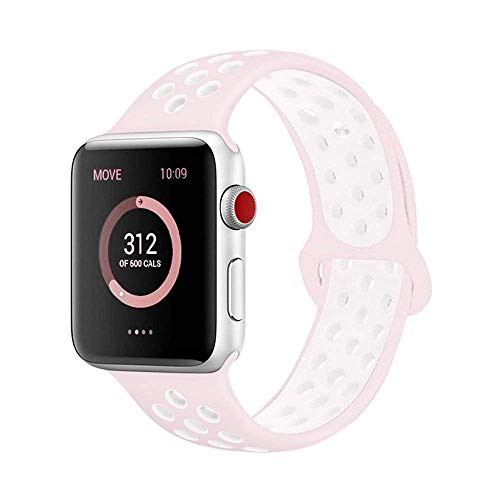 AdMaster Compatible for Apple Watch Bands 42mm,Soft Silicone Replacement Wristband Compatible for iWatch Apple Watch Series 1/2/3 - S/M Barely Rose/Pearl Pink
