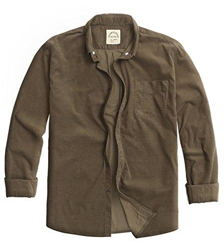 Bii Free Men's Long-Sleeved Corduroy Shirt Slim Fit (Large, Armygreen) Corduroy Long Sleeved Shirt