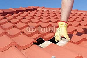 Construction Worker Shingle Roofing Repair (49126004), lino, 120 x 80 cm