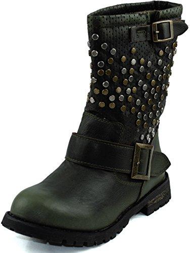 Damesschoenen Dames Midi-kalf Bezaaid Versierd Gesp Enkel Booties Laarzen Mode-schoenen Groen