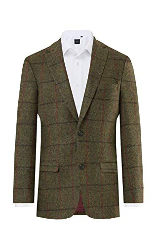 Harris Tweed Mens Green/Brown Check Tweed Jacket Regular Fit 100% Wool-42R