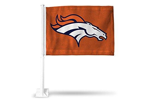 Rico NFL Denver Broncos Car Flag, Orange, with White Pole