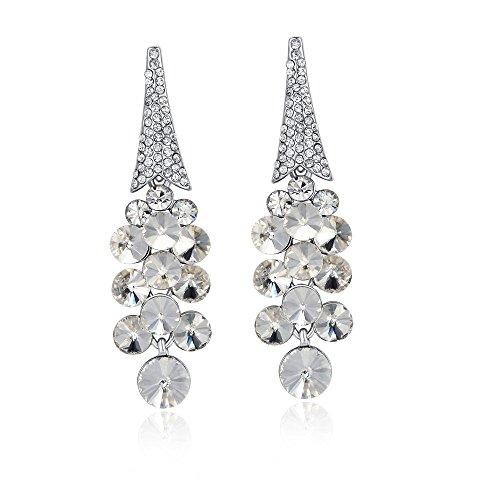 - Sinlifu Women's Pageant Clear Crystal Rhinestone Chandelier Prom Dangle Earrings