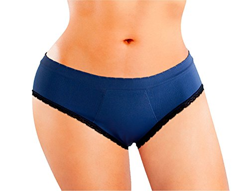 Anigan StainFree Seamless Hipster Lace Trim Menstrual Period Panty - Blue -