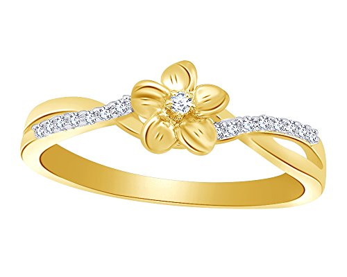 Wishrocks Round Cut White Natural Diamond Accent Flower Crossover Ring in 14K Yellow Gold Over Sterling Silver