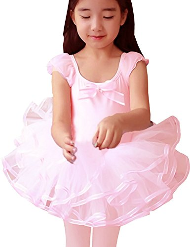 CM-Cute Little Girls Ballet Flutter Sleeve Bow Tulle Dance Costume Tutu Dresses, Pink, M (2T/3T) (Cute Little Girl Halloween Costumes)
