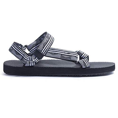 KRABOR Womens Sandals Open Toe Slides with Back Strap Athletic Adjustable Summer Shoes Size 6-11 Black/White