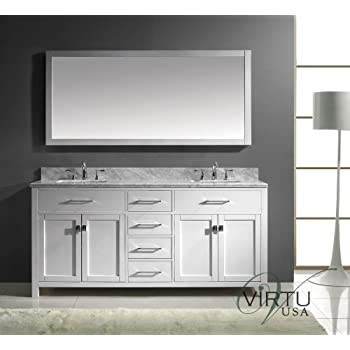 Virtu USA MD 2072 WMSQ WH Caroline 72 Inch Bathroom Vanity With Double  Square Sinks In White And Italian Carrera White Marble