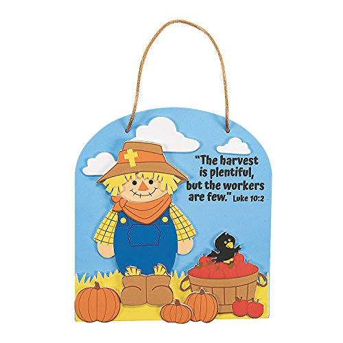 Fun Express - Harvest Inspirations Bible Verse ck for Fall - Craft Kits - Hanging Decor Craft Kits - Sign Decoration Craft Kits - Fall - 12 Pieces
