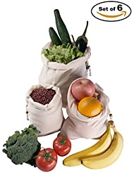 VIVIMONKEY Reusable Produce Bags Organic Cotton Muslin Grocery Storage Snack Washable Bags With Drawstrings - Set of 6 (2 Each of L/M/S)