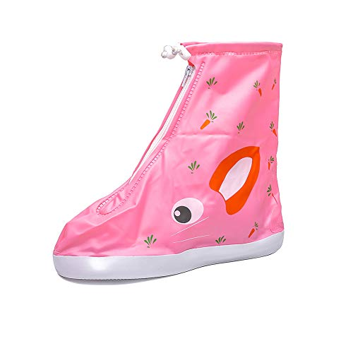Child Waterproof Shoe Covers Outdoor Rain Overshoes for Girls Boys Pink Rabbit Size M ()