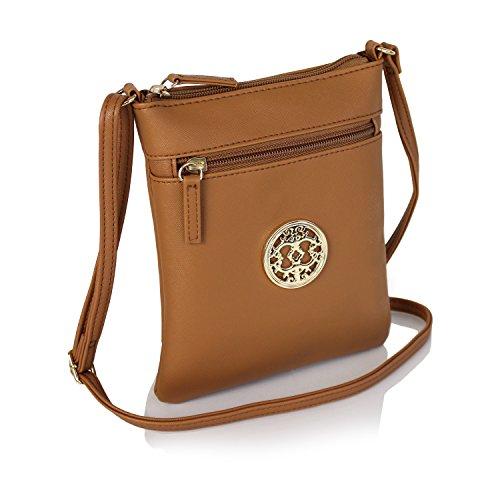pelle con vegana Borsa oro in chic in borsa tracolla cognac con a piccola medaglione YnqtwwZf